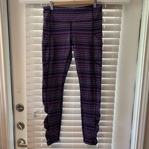 Lululemon purple striped ruched leggings Sz 8